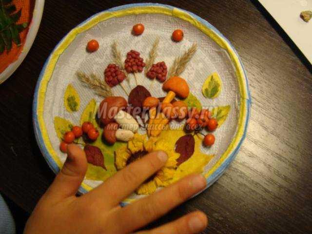 поделки из природных материалов. Осенняя тарелочка