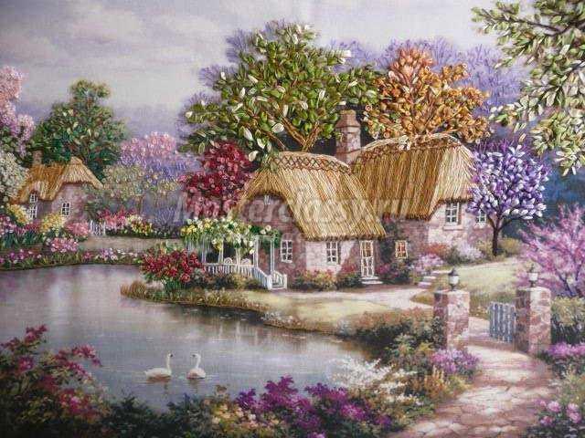 Картины домиков для вышивки