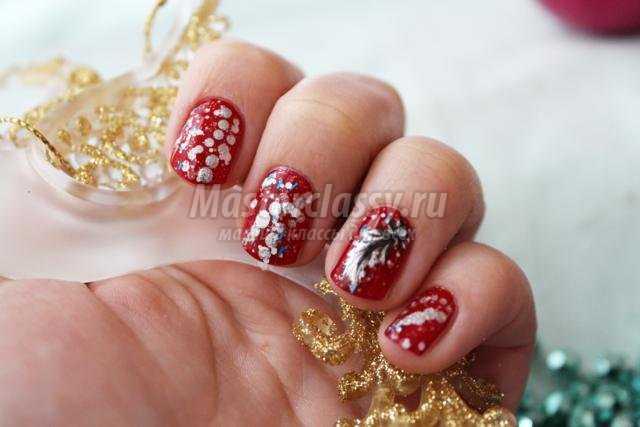 новогодняя роспись ногтей маникюр. Маскарад