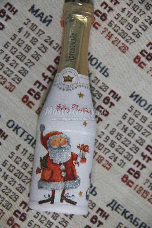 шампанское сказочное, новогоднее в технике декупаж