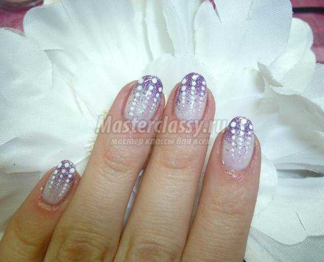 зимняя роспись ногтей маникюр. Новогодний блеск