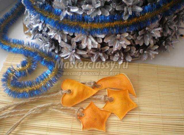 новогодний эко-декор. Елочные игрушки из апельсиновой кожуры
