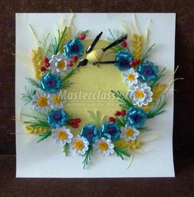 квиллинг. Картина с цветами для мамы