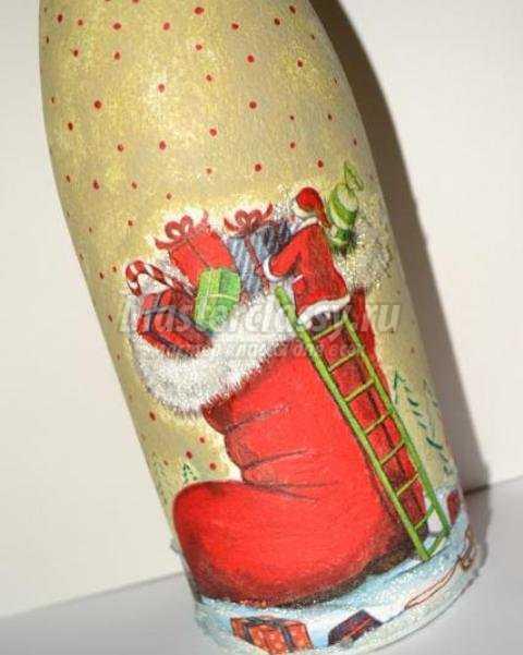 Новогодний декупаж бутылки шампанского