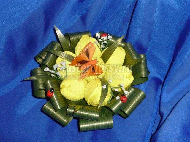 подарки из конфет своими руками. Корзинка с тюльпанами