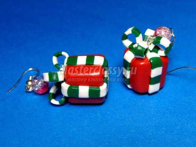 серьги из полимерной глины к Новому году. Подарочные коробочки