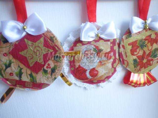 новогодние подвески-шарики из картона