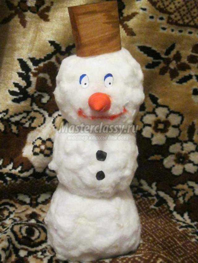новогодние поделки своими руками. Снеговик из ваты