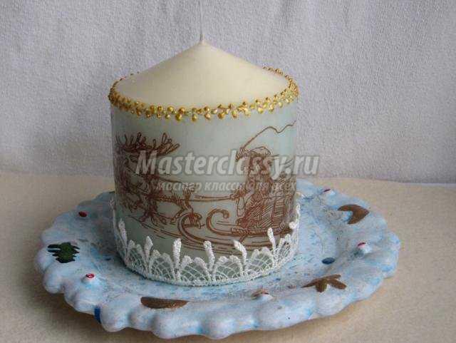 декорирование свечи в технике декупаж