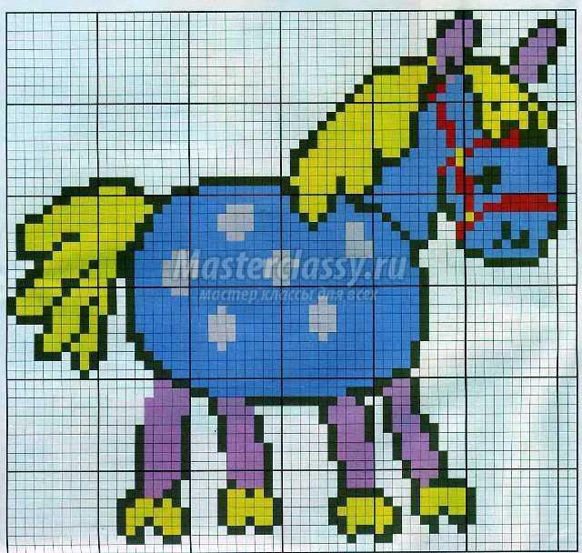 Схема детской вышивки крестом лошадки