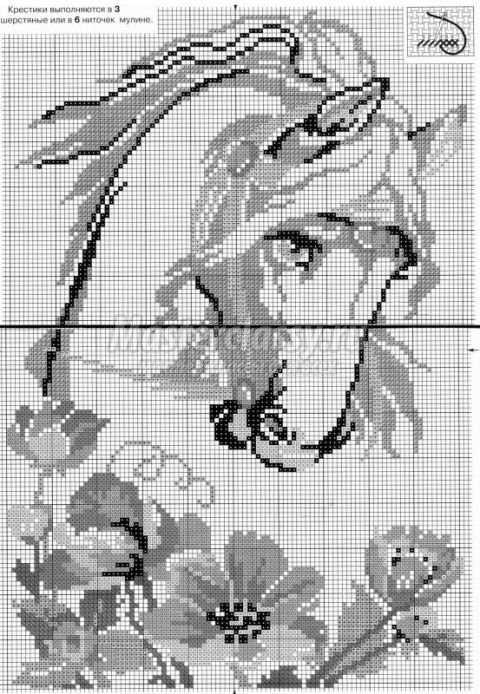 Схема вышивки лошадь с маками
