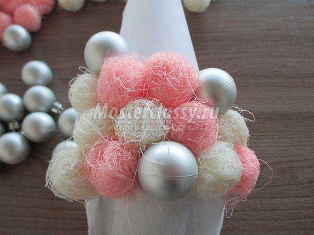 розово-белая елочка из сизаля своими руками