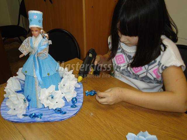 снегурочка-сюрприз с конфетами своими руками