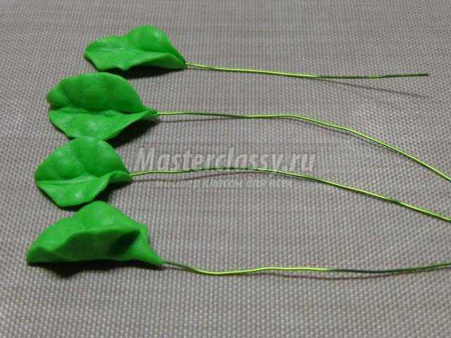 палочки для волос из полимерной глины. Цветущая сакура