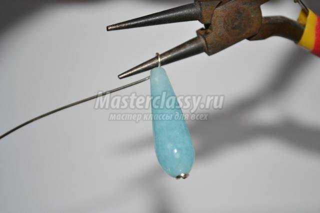 комплект украшений с голубым кварцем в технике Wire Wrap