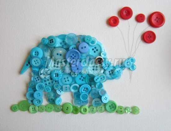 Слон - поделка из пуговиц