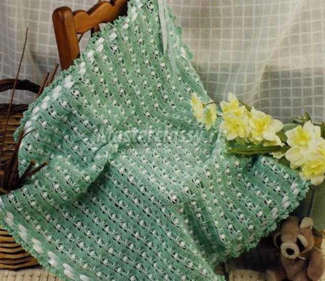 Детское одеяльце, вязаное крючком