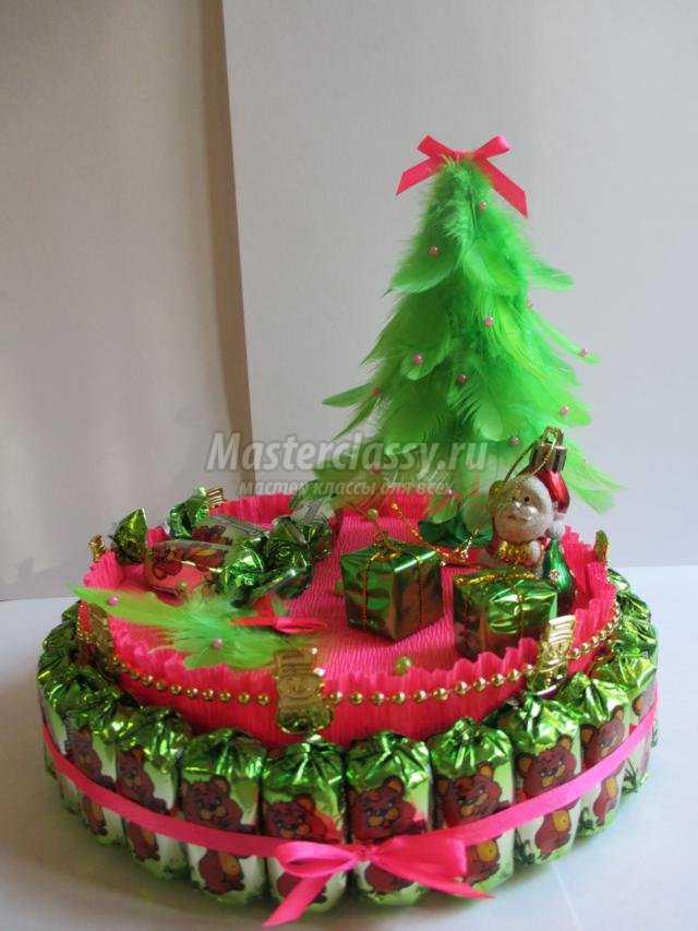 новогодние подарки своими руками. Торт из конфет с елочкой