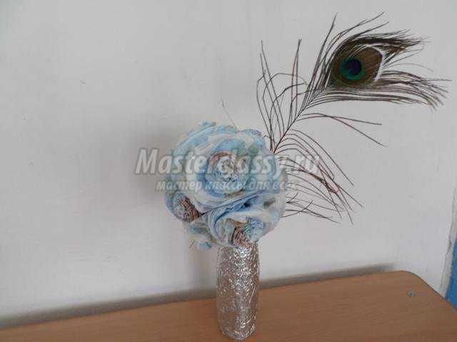 цветочный топиарий из салфеток своими руками