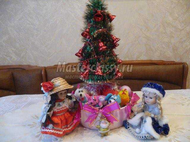 новогодние подарки. Елочка с конфетами своими руками
