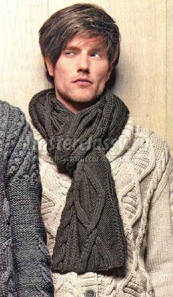 вязаный мужской шарф спицами схема и описание