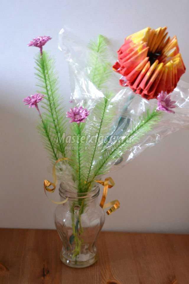 модульное оригами букет цветов. Новогодний