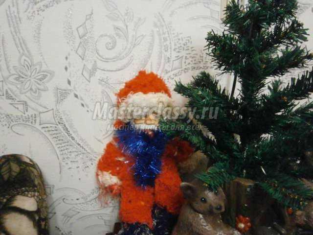 вязаный Санта Клаус спицами