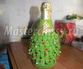 Новогодняя одежда для бутылки шампанского крючком. Мастер-класс с пошаговыми фото