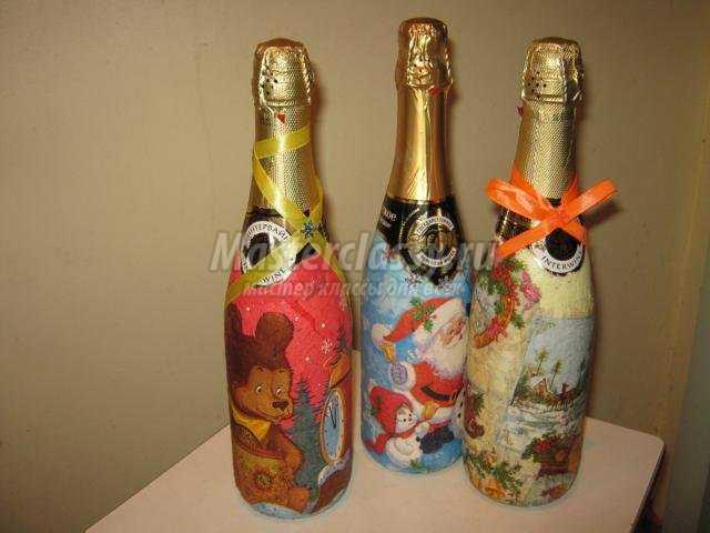 декупаж бутылки шампанского. С Новым годом
