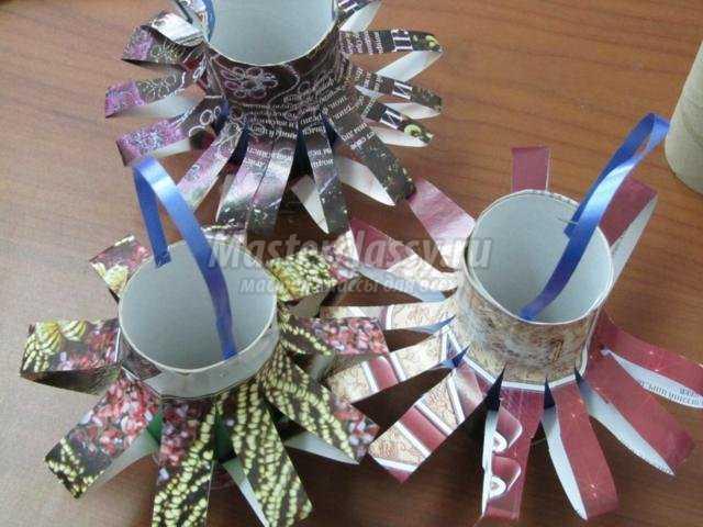 елочные игрушки из бросового материала. Фонарики