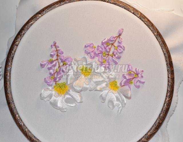 Вышивка лентами полевые цветы схема