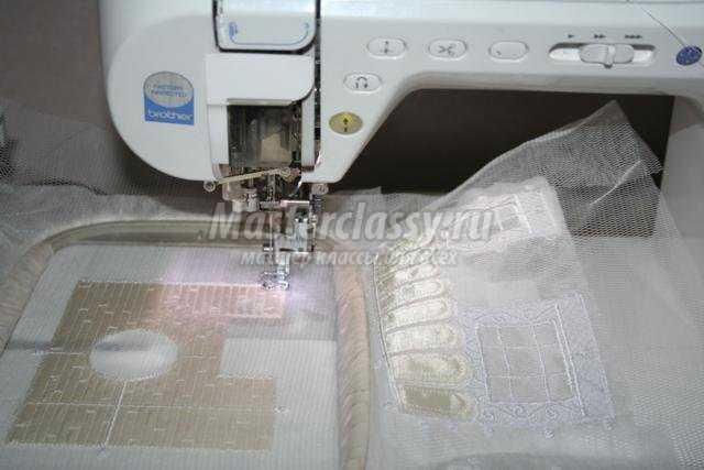 машинная вышивка. Новогодняя композиция