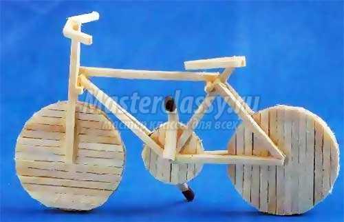 Поделки из спичек для детей: велосипед