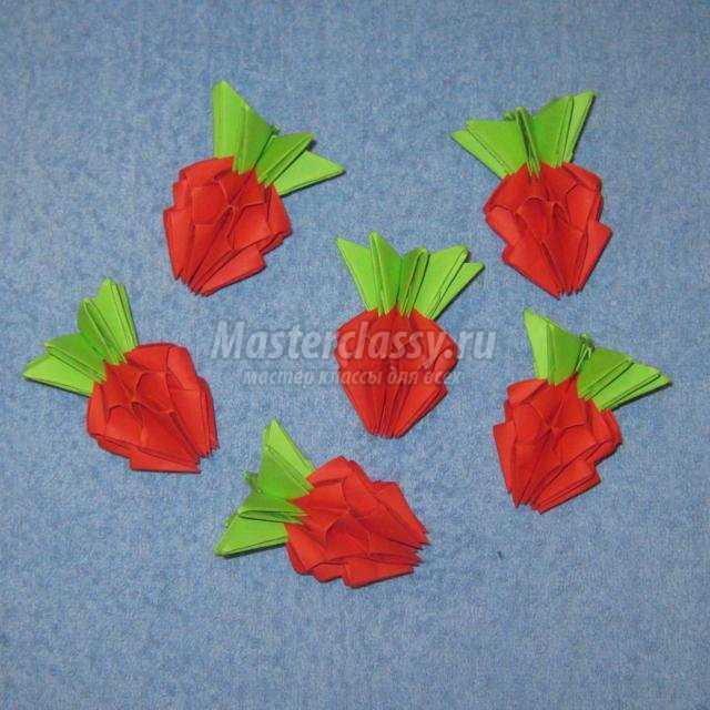 модульное оригами. Корзина с ягодами