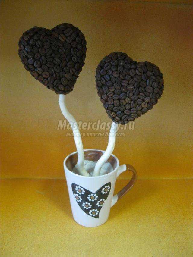 топиарий из кофе в виде сердца