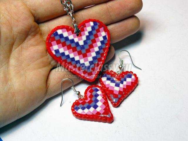 комплект из полимерной глины с сердцами в технике Барджелло