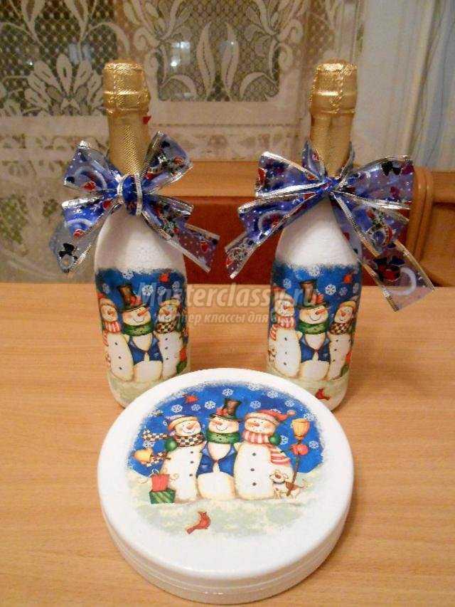 новогодний подарок. Декупаж шампанского и коробки конфет