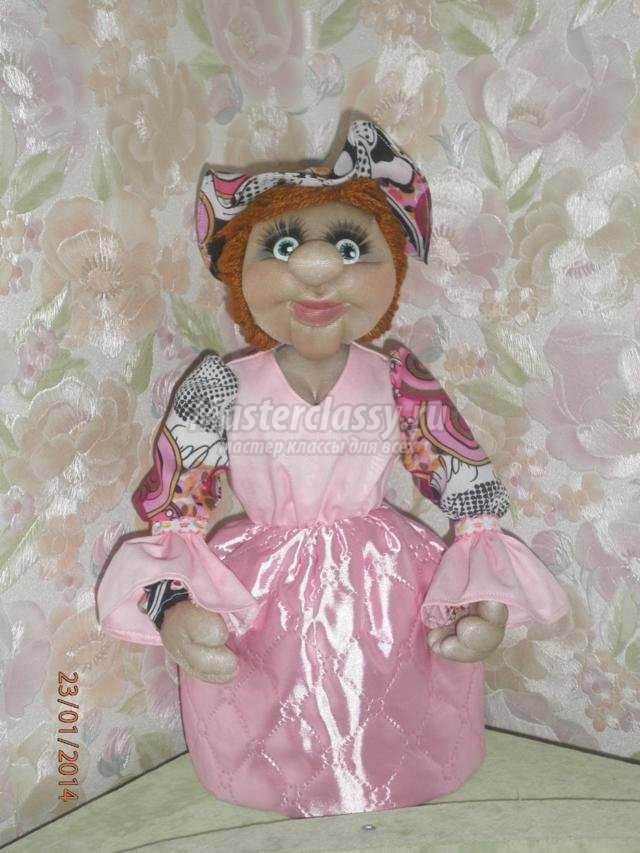 текстильная кукла из капрона. Грелка на чайник