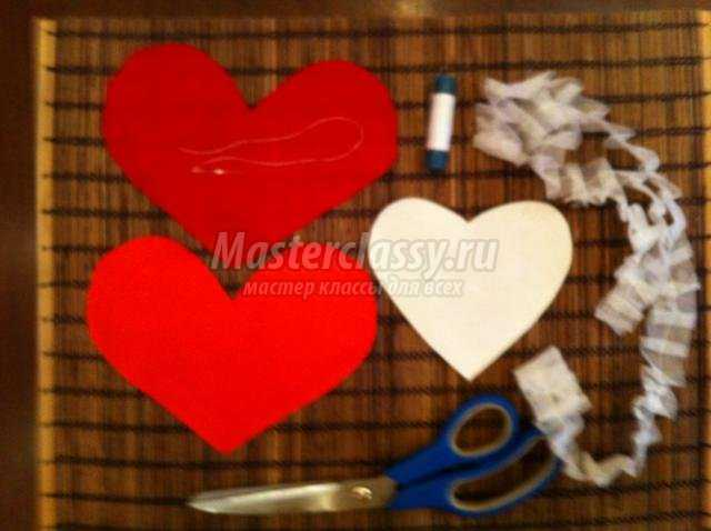 сердце из ткани ко Дню Святого Валентина