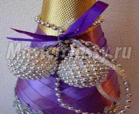Декор бутылки шампанского атласной лентой. Мастер-класс с пошаговыми фото