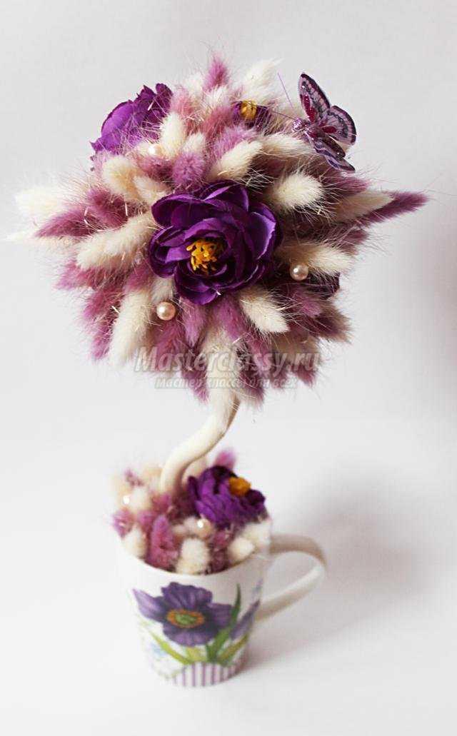дерево счастья из ларгуса и искусственных цветов