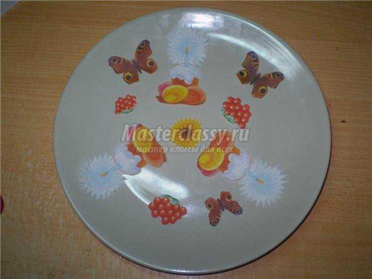 пасхальный декупаж тарелки своими руками