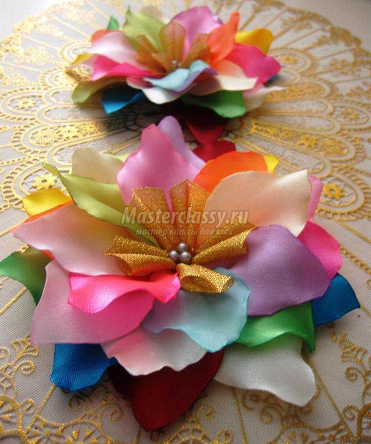 Цветок из ленты своими руками пошаговое фото