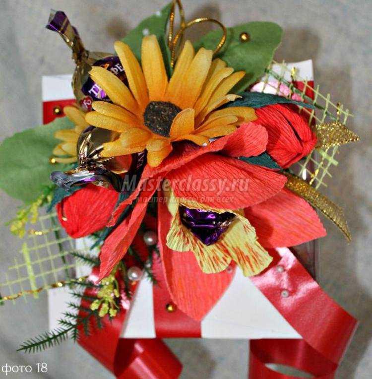 украшение коробки конфет свит-дизайн. Орхидея