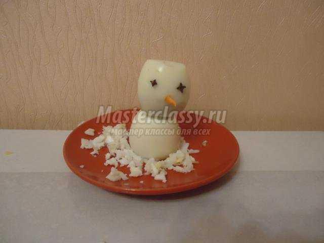 забавный снеговик из яиц своими руками
