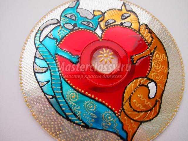 роспись диска ко Дню Святого Валентина. Влюбленные котики