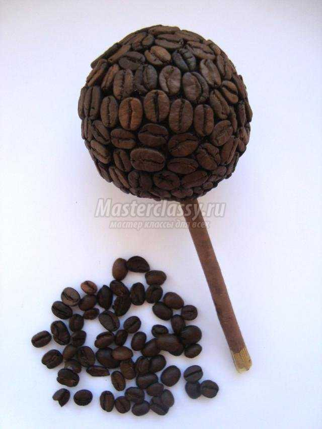 топиарий из кофейных зерен ко дню влюбленных