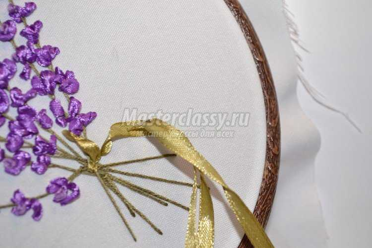 Вышивка лентами картины лаванда