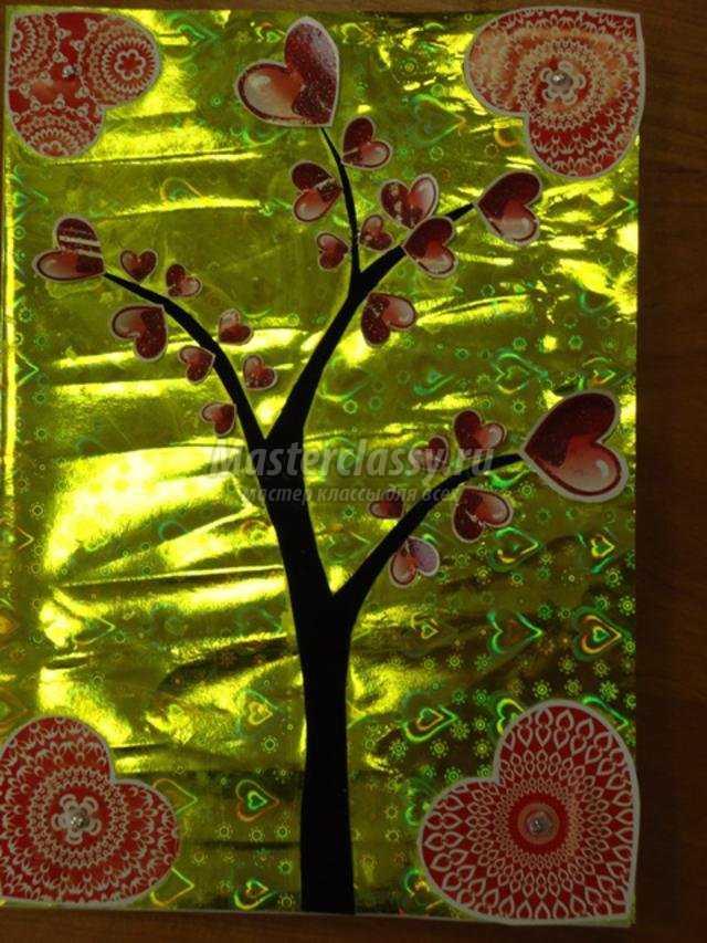 открытка в технике скрапбукинг. Дерево любви