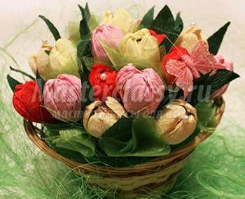 Весенний букет тюльпанов с конфетами. Пошаговый мастер-класс